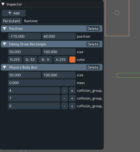 inspector widget with position, debug draw rect, and physics body sub-widgets