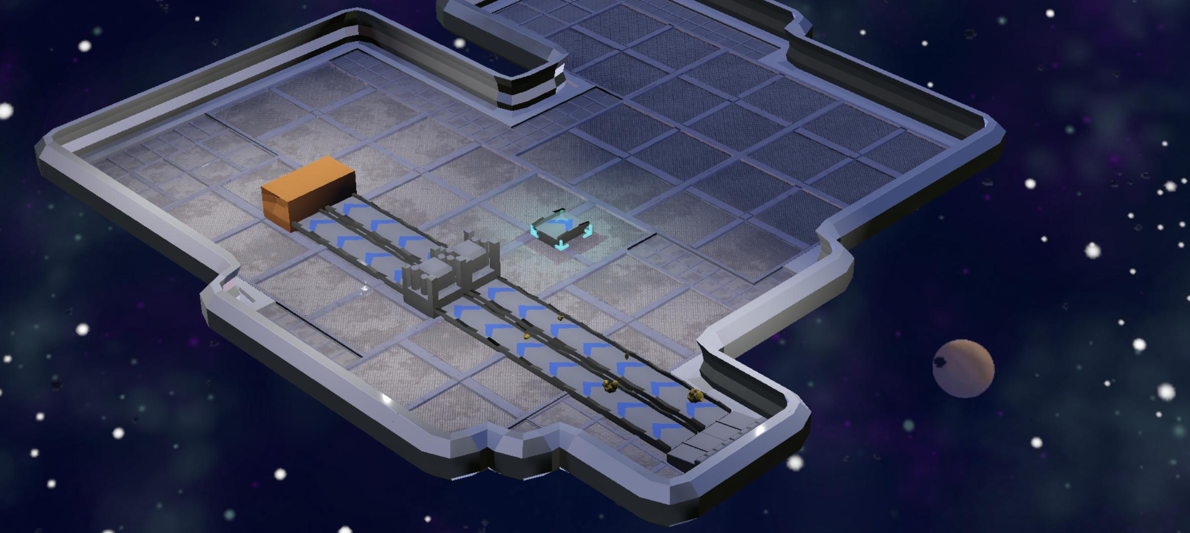 Recall Singularity screenshot: map, a few belts and processing nodes