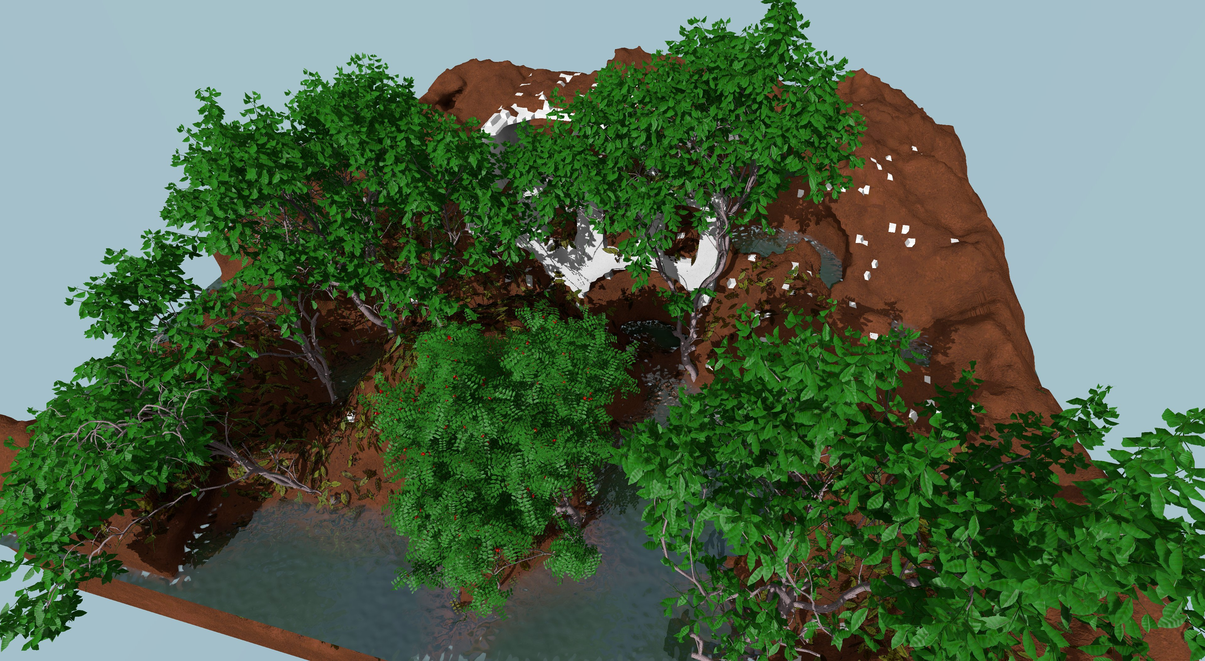 Garden screenshot: ruins, trees and water in craters