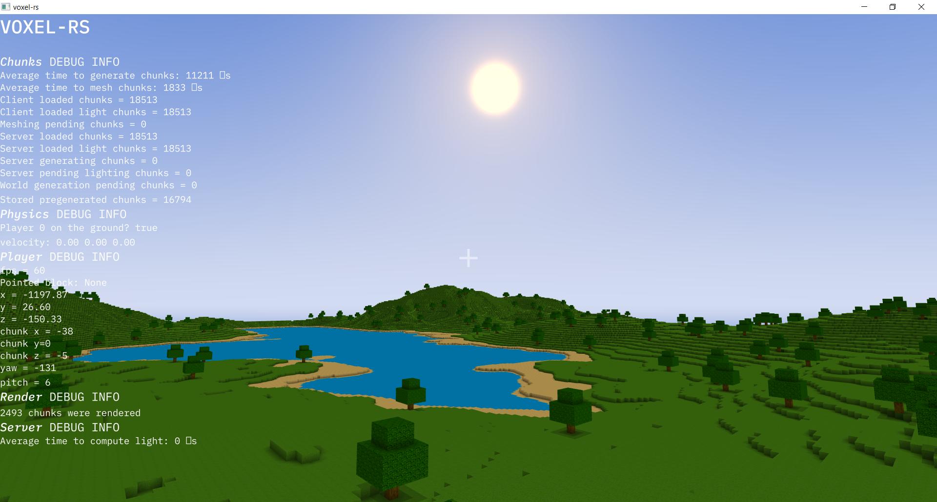 Some lake, hills, blue sunny sky and debug output