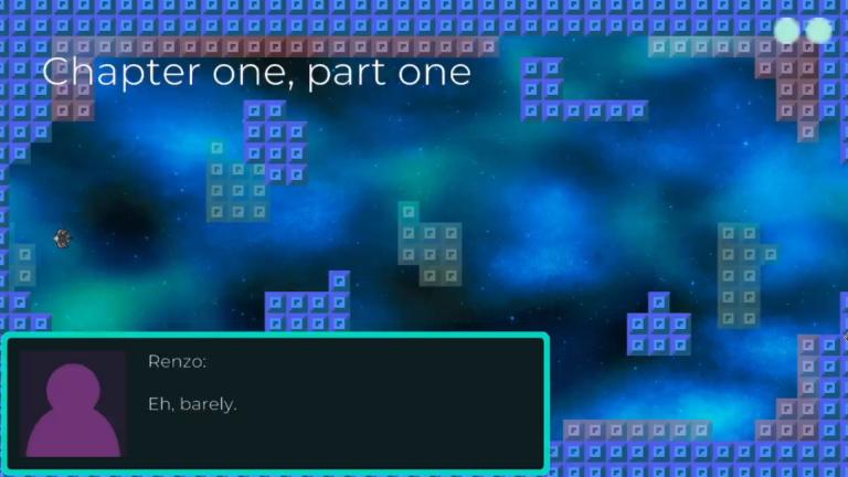 gameplay screenshot: block, space ship, dialog box