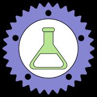 rustim logo: lab flask in a gear