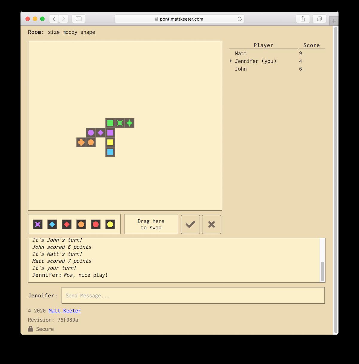 Screenshot of the Pont board game
