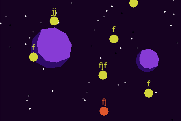 screenshot: planets and words