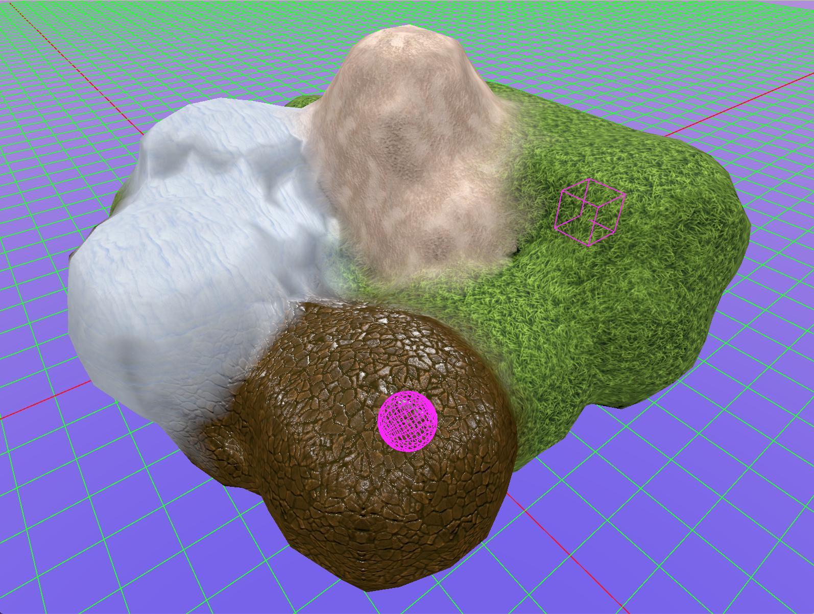Demo: some terrain painted as grass, snow, dirt, etc