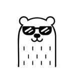 cool bear with glasses