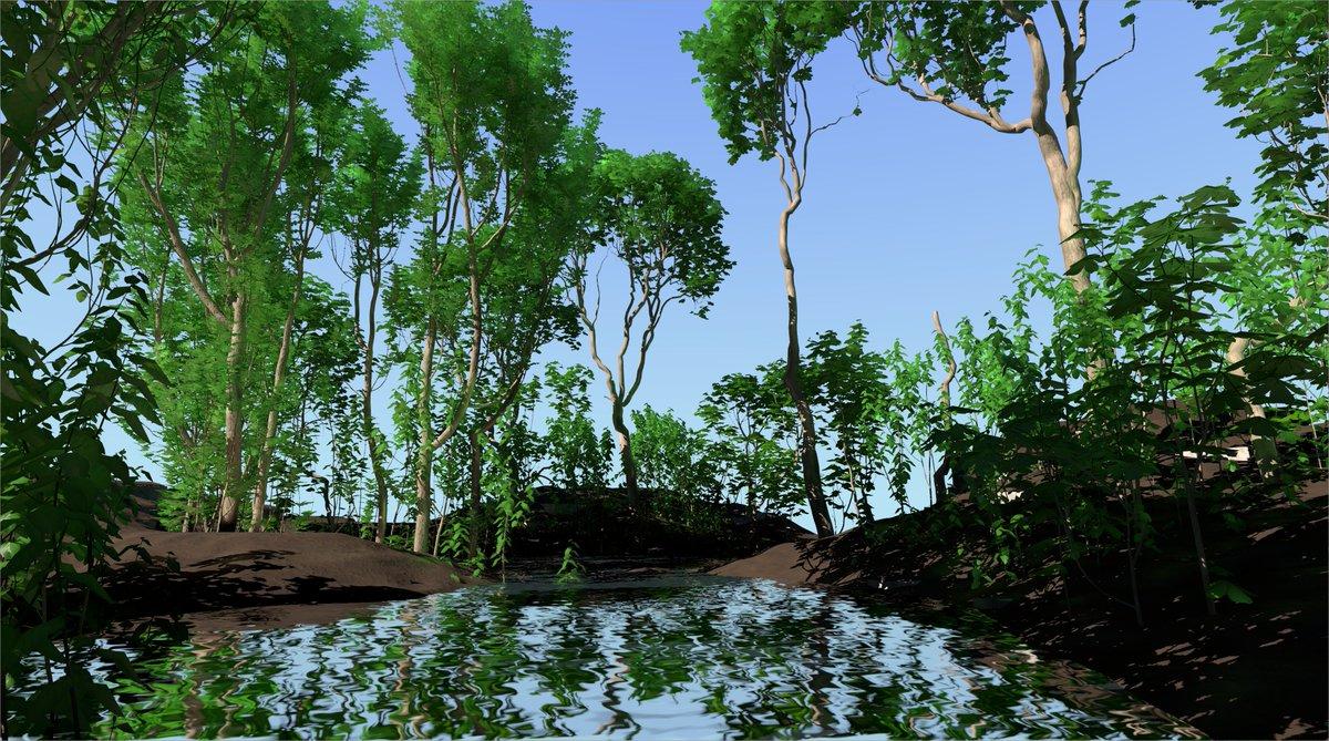 screenshot: trees and water