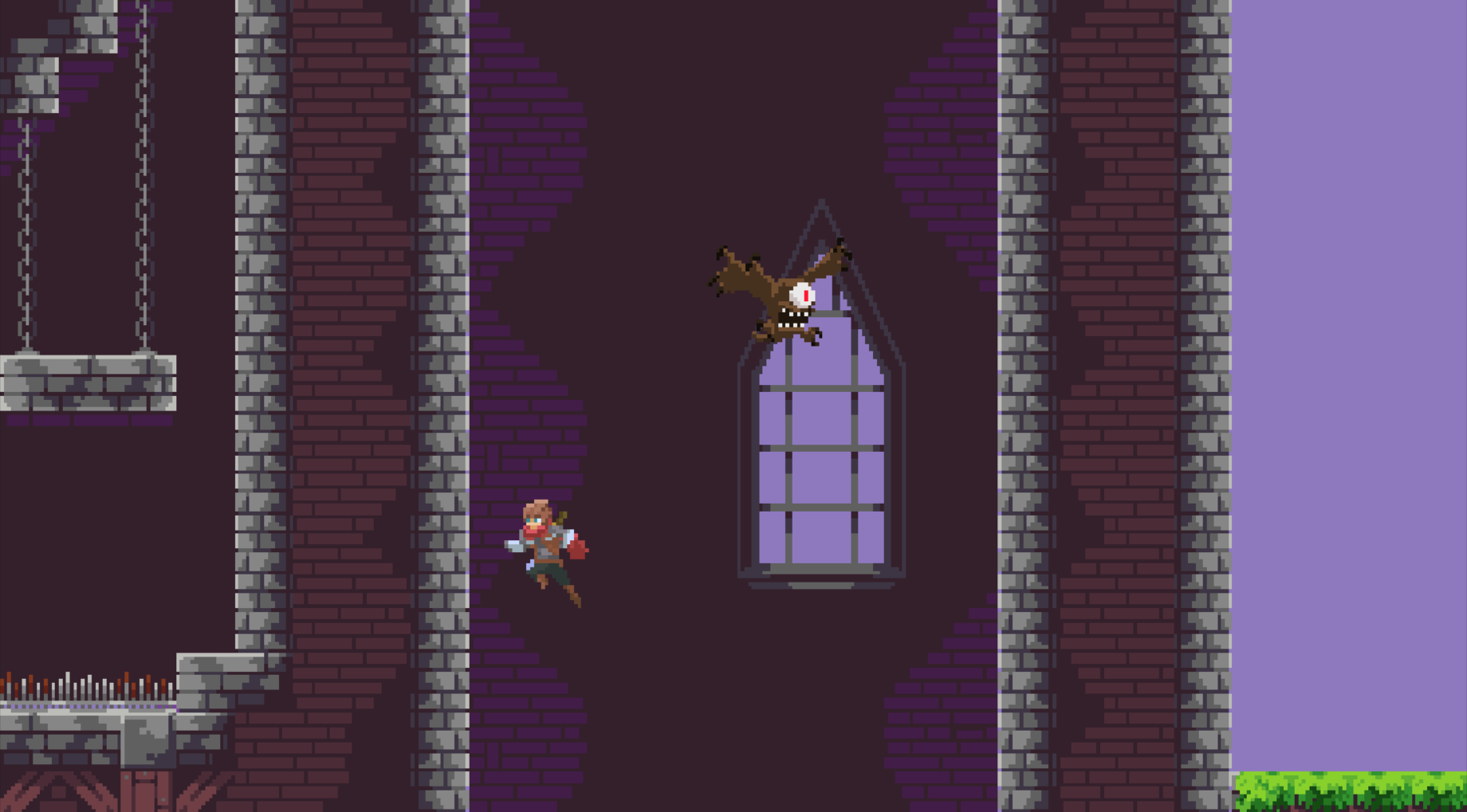 Jumping across walls minigame