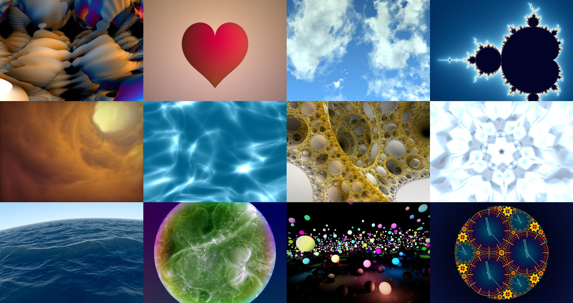 A collage of various shadertoy.com shaders built with rust-gpu.