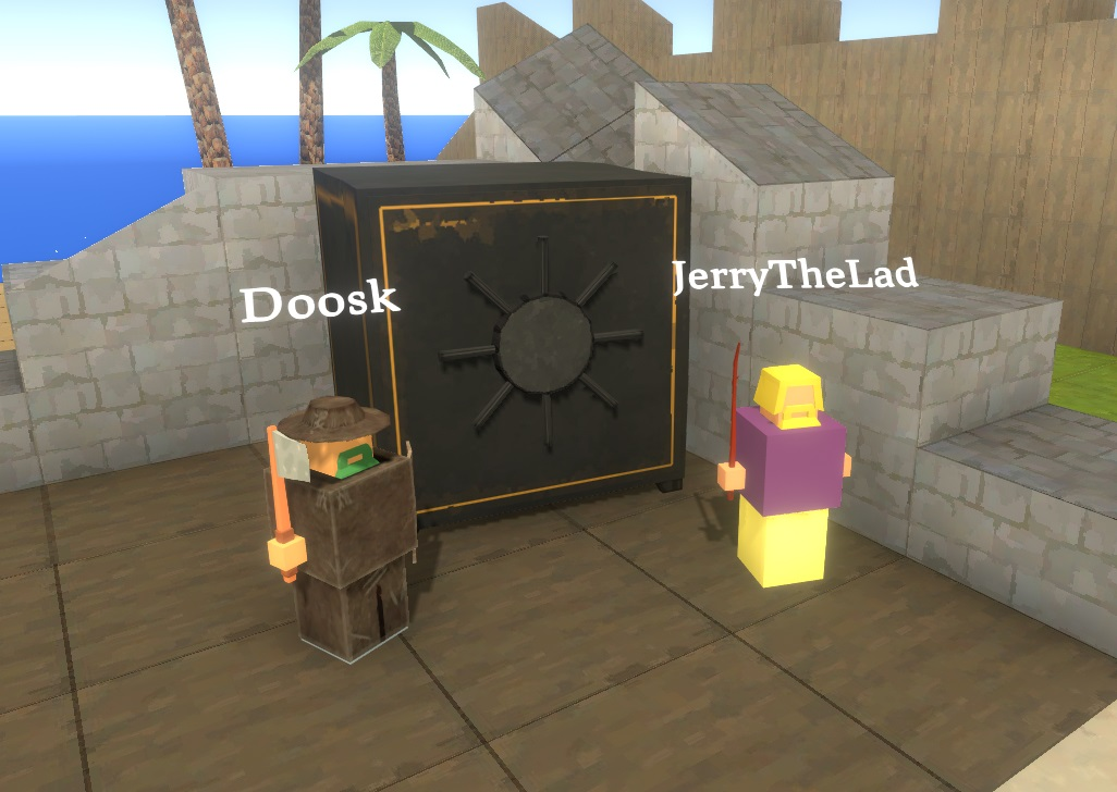 Some players hanging out next to the bank Vault in Belmart