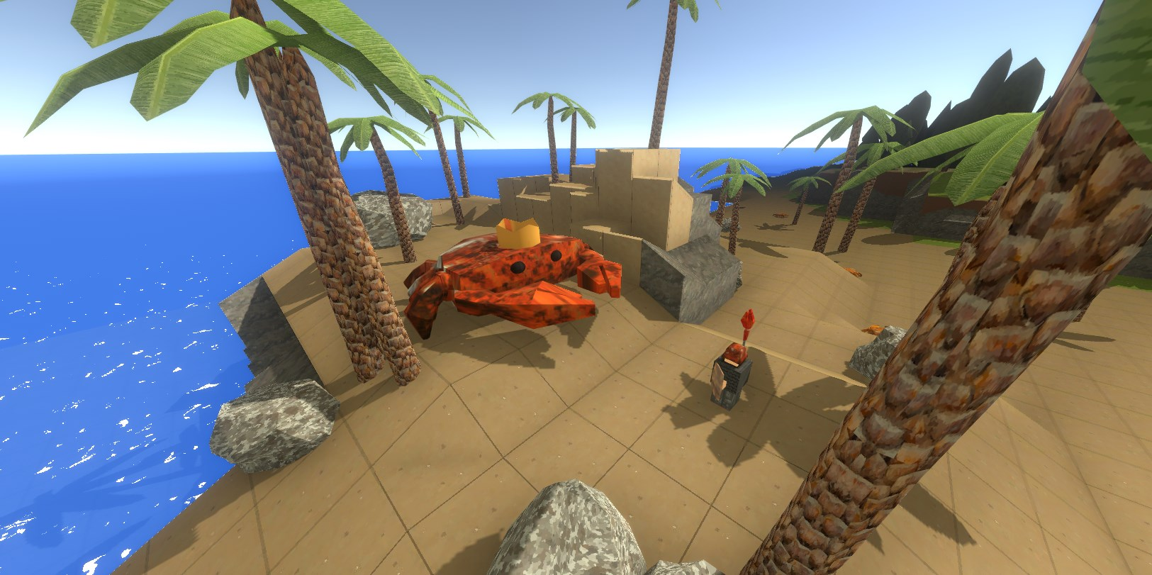 A player standing in front of a giant crab