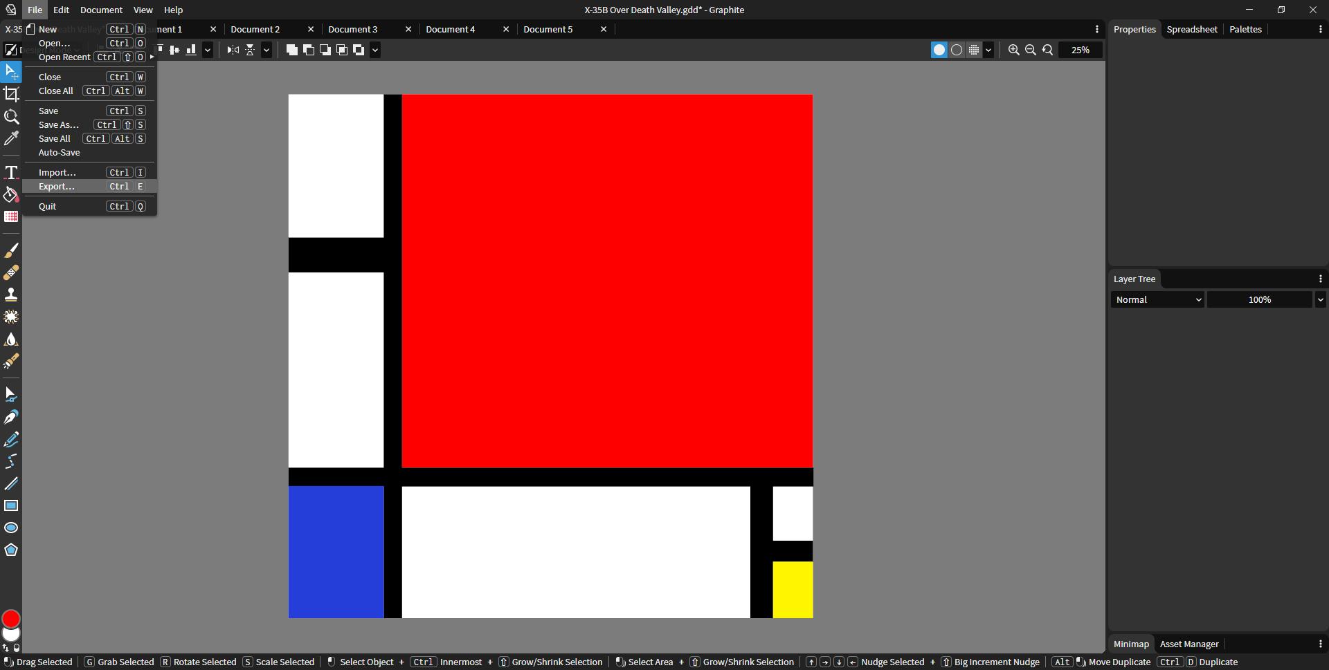 Piet Mondrian's artwork replicated in Graphite using the new color picker