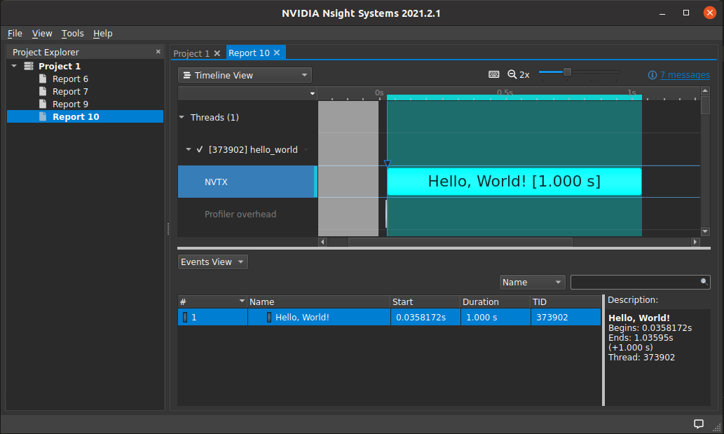 A screenshot of NVIDIA NSight Systems with only one sections measured